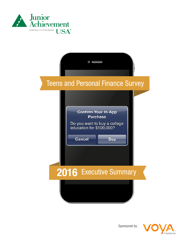 2016 Teens and Personal Finance Survey